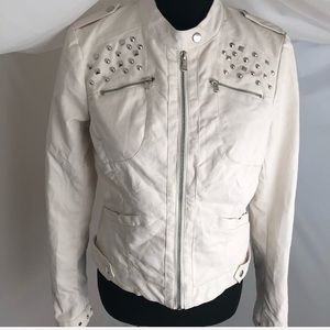 Bernardo Collection cream faux leather jacket